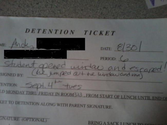 detention- window