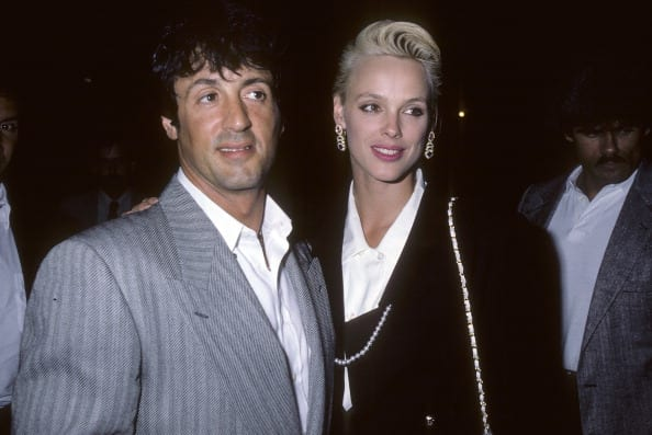 "Sylvester Stallone and Brigitte Nielsen attend a performance of the Broadway play ""Cuba & His Teddy Bear"""