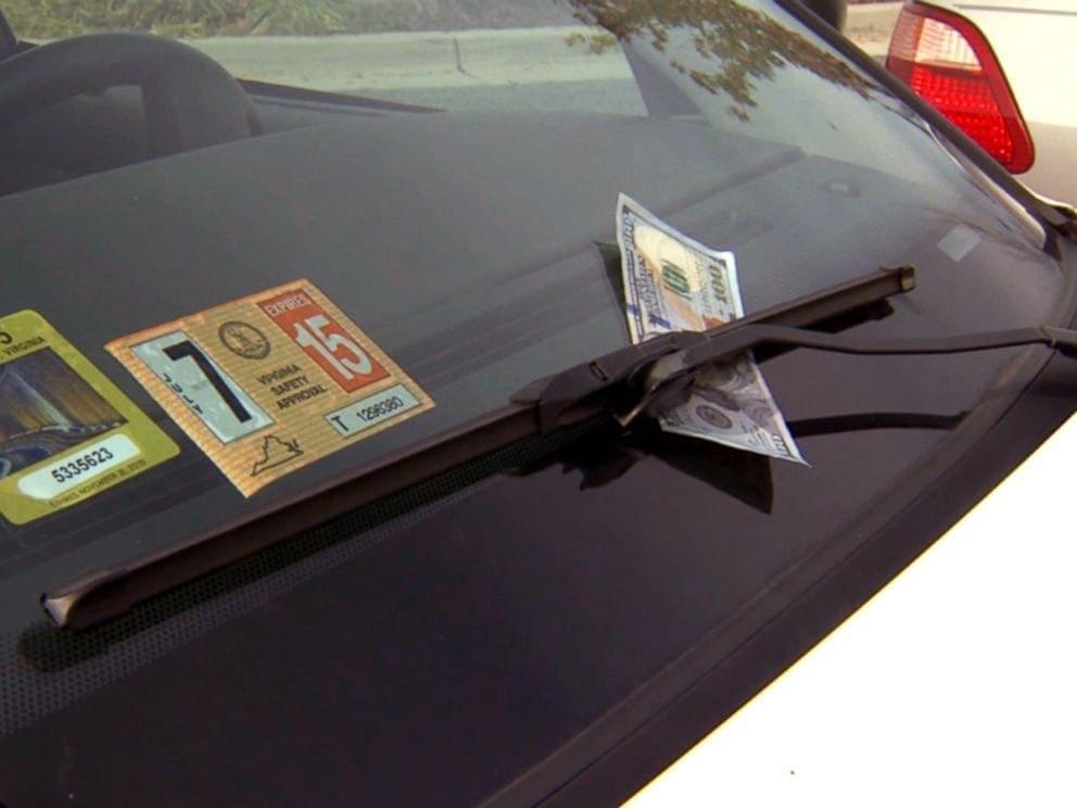 money on windshield