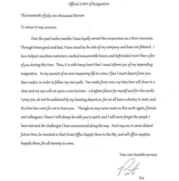 These Resignation Letters Say \'I Quit\' In Hilarious Ways ...
