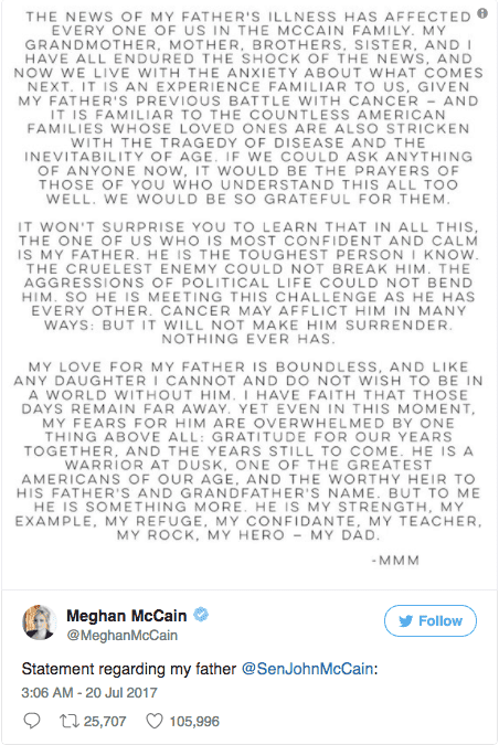Meghan McCain Twitter Statement