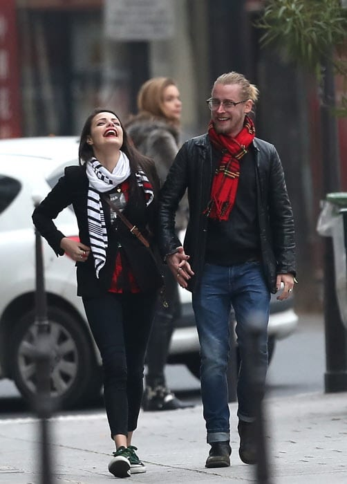 Actor Macaulay Culkin and actress Jordan Lane Price in Paris
