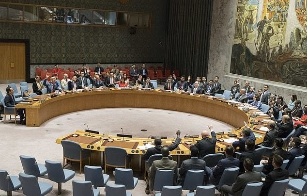The United Nations Security Council votes on a new sanctions resolution that would increase economic pressure on North Korea to return to negotiations on its missile program, Saturday, Aug. 5, 2017 at U.N. headquarters. (AP Photo/Mary Altaffer)