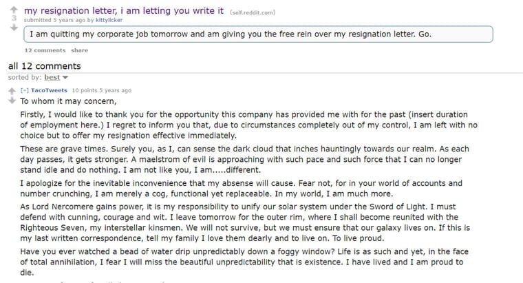 These Resignation Letters Say 'I Quit' In Hilarious Ways