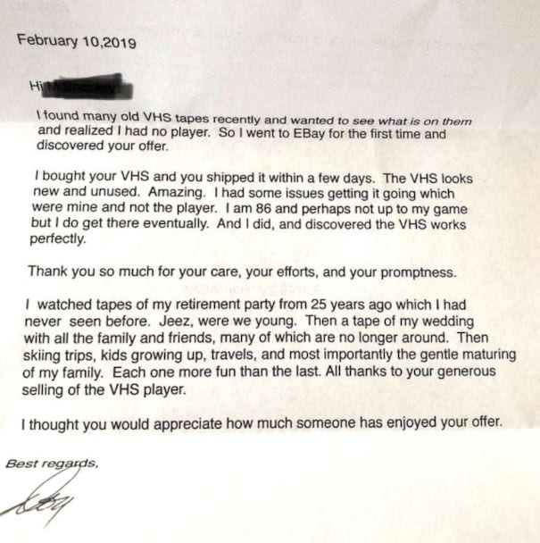 After Buying VCR on Ebay, Man Writes Seller Sweet Letter