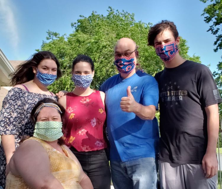Grandma Terry's family wearing the masks