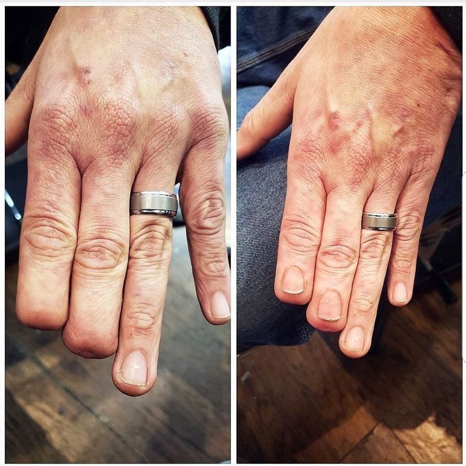 A split image of before and after of the tattooed nails