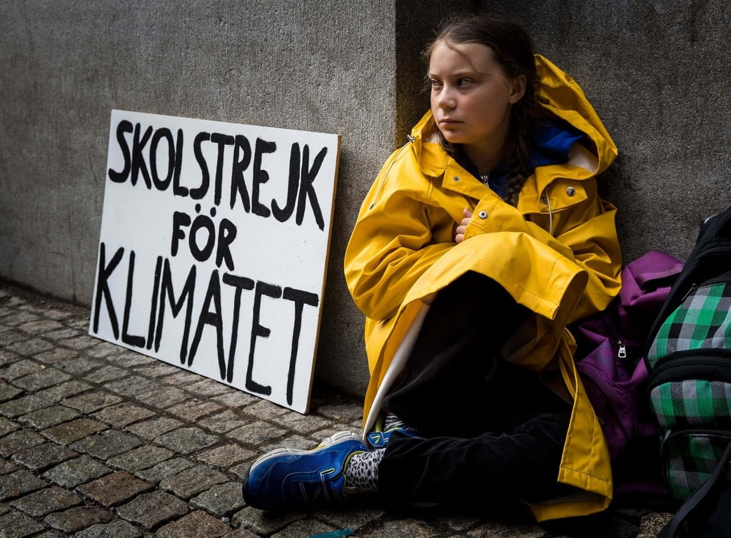 Greta while on her solo school strike in 2018.
