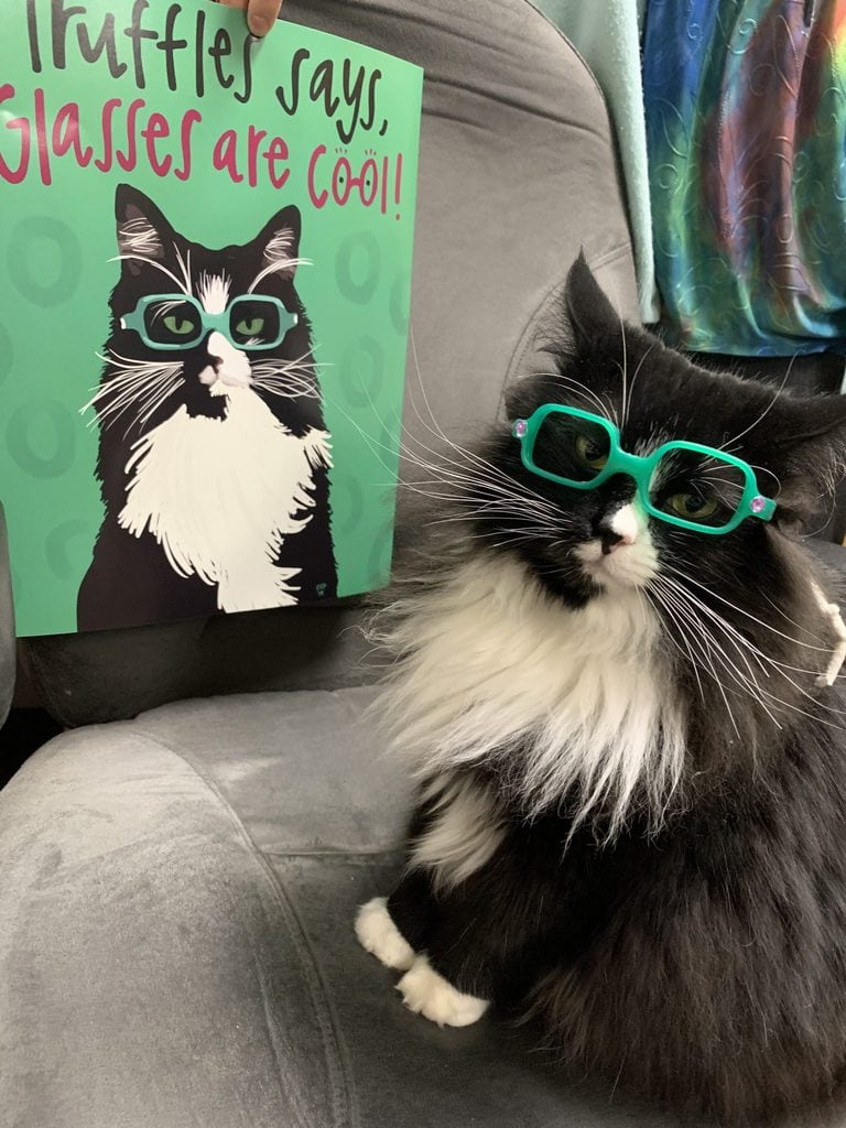 Truffles posing in green glasses next to a poster of Truffles in green glasses