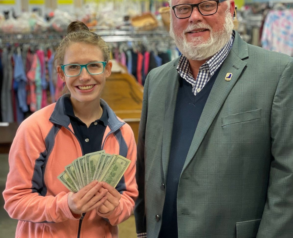 Andrea Lessing and the Goodwill VP of Donated Goods Retail, Frank Holland.