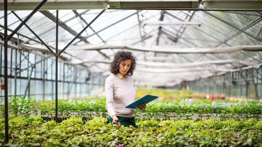Woman doing quality control inside one of the indoor farms